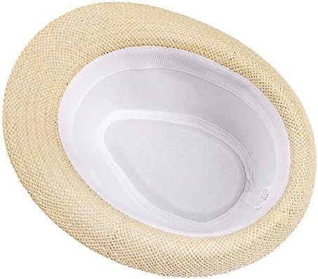 CHENGWJ Sombrero de Paja Hombres Unisex Mujer Hombre Trilby Cap Beach Sun Sombrero De Paja Band Sombrero para El Sol///En Verano