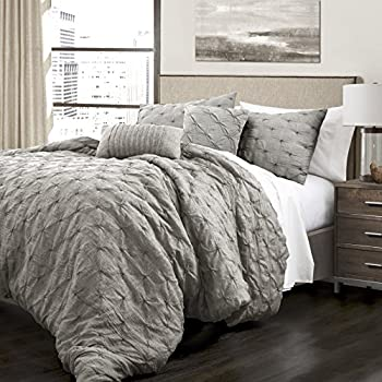 Image of AF ULTRA 5 Piece King, French Country Glam Classic Pin Tuck Pattern Comforter Set, Traditional Unique Farmhouse Solid Color Design, Gorgeous Textured Themed, Eye-Catching Bedding, Adorable Grey Color