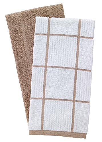 T-Fal Textiles Woven Solid & Checked Parquet Design, Highly Absorbent 100% Cotton Kitchen Dish Towel, 16-inch by 26-inch, Set of 2, Sand