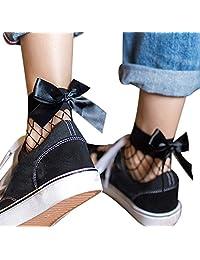 Mapletop Women Ruffle Fishnet Ankle High Socks Mesh Lace Fish Net Short Socks