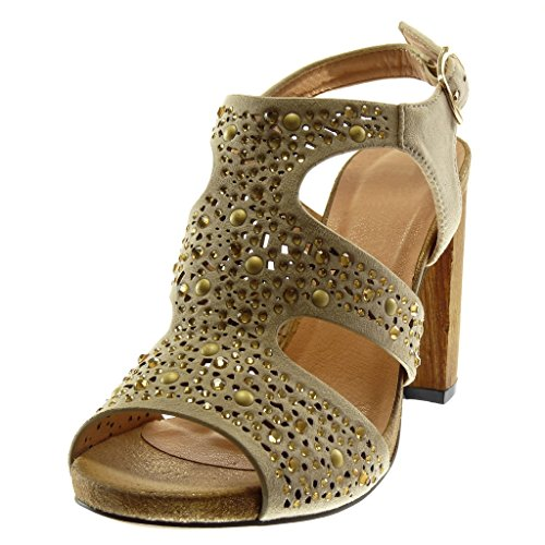 Angkorly Women's Fashion Shoes Sandals Pump Court Shoes - Ankle Strap - Studded - Rhinestone - xooden Block High Heel 10 cm Beige uqW63