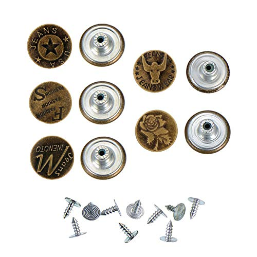 Long Shank Bronze - 20mm 5Style 10Sets/ Bronze Fashion Metal Jeans Button Shank Button for Garment Pants Sewing Clothes Accseeories Handmade