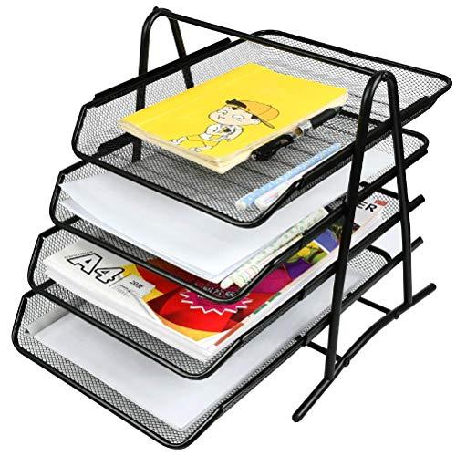 Organizador de bandeja de letras de 4 cajones YOTINO, bandeja de documentos de metal Organizacion de escritorio Organizador de oficina Bandeja de escritorio para documentos A4 (negro)