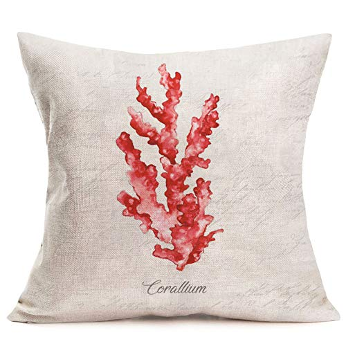 (Pillow Covers Coastal Theme Red Coral Throw Pillow Case 18 X 18 Inch Cotton Linen Square Cushion Covers for Home Sofa (Red Coral))