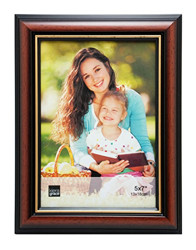 Kiera Grace Kylie Picture Frame, 5 by 7 Inch, Brown with Gold Line