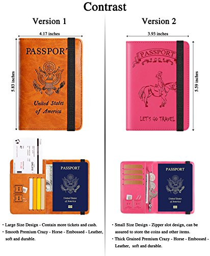 Passport Holder Cover Wallet RFID Blocking Leather Card Case Travel Document Organizer (Ride Horseback-Pink) by PASCACOO (Image #5)