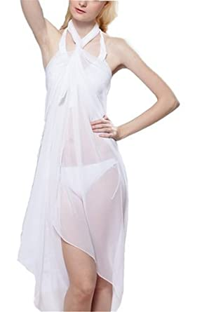 77e2d3f04e1dc The Everything Factory White Sheer Chiffon Sarong. One Size: 8 10 12:  Amazon.co.uk: Clothing