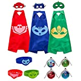 #7: flashbluer PJ Masks Costumes Set Of 3 Capes 3 Masks 3 Bracelets, 4 Necklaces For Kids