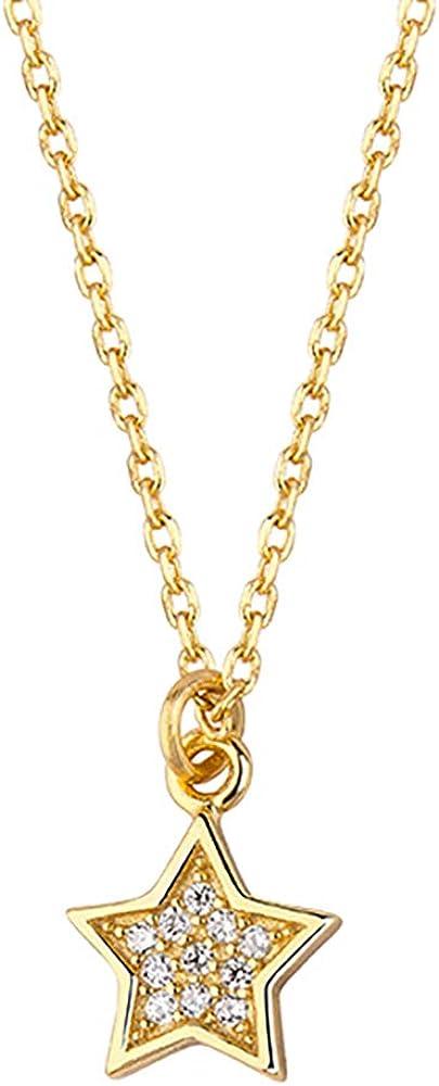 *Oro Cavallo* – famosa – Estrella de circonita – Collar de plata 925 bañada en oro de 24 K – Grosor de la amistad – con cadena de plata de ley 925, colgante con estuche de joyería.