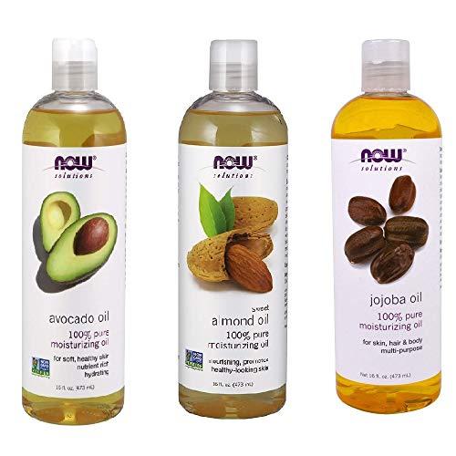 Now Foods Variety Moisturizing Oils Sampler: Sweet Almond, Avocado, and Jojoba Oils (16 oz - Pack 16 Each Ounce