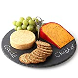 Product review for Lily's Home Rustic Slate Cheese Board with Carrying Handle and Chalk, Cheese Tray, 12 Inch Diameter.