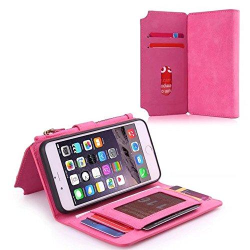 JIALUN-carcasa de telefono Funda de cuero multifuncional con cremallera y tapa trasera magnética desmontable para iPhone 6 Plus / 6s Plus ( Color : Brown ) Rose