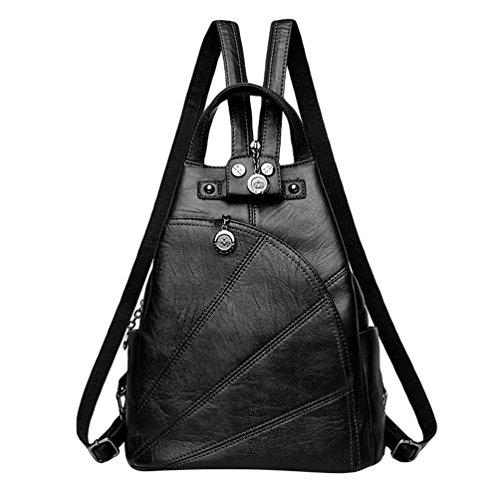 Xinwcang Casual Mochila Mujer Moda Bolso del Hombro Multi-bolsillos Cuero de la PU Bolsa de Mano Negro