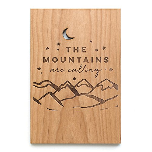 The Mountains are Calling Laser Cut Wood Greeting Card (Gratitude Card / Everyday / Unique Gift / Personalized Available) (Laser Everyday)