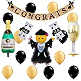 Congrats Grad Mylar Balloons and Graduation Certificate Congrats Balloons Cloth Banner Gold for Graduation Party High School Graduation Party College University Graduation Party Promotion Party Congra