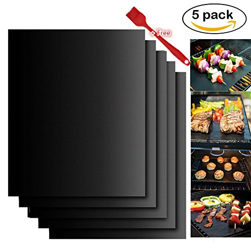 Phoenix Grill Accessories (IVY Grill Pads - BBQ Accessories For Gas Oven Charcoal Electric Grills with Easy to Clean.[Reusable][Nonstick] - Set of 5)