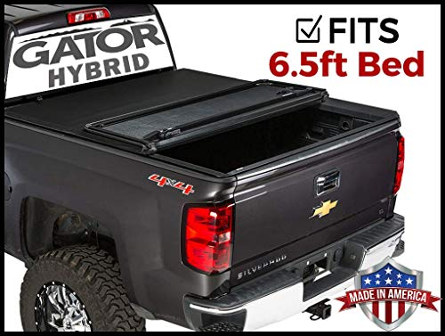 Gator Hybrid Hard Folding (fits) 2007-2013 Chevy Silverado GMC Sierra 6.5 FT Bed Only Hard w/Soft Looks Tonneau Truck Bed Cover (GHF0123) Made in The USA