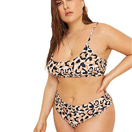 (Poliphili Women's Plus Size Two Piece High Waisted Printed Bikini Swimwear (XX-Large, Leopard 2) )