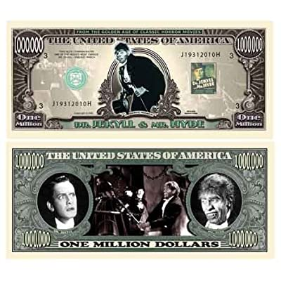 American Art Classics Dr. Jekyll and Mr. Hyde Million Dollar Bill in Currency Holder: Toys & Games