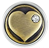 Petite Ginger Snap Brass Heart with Stone
