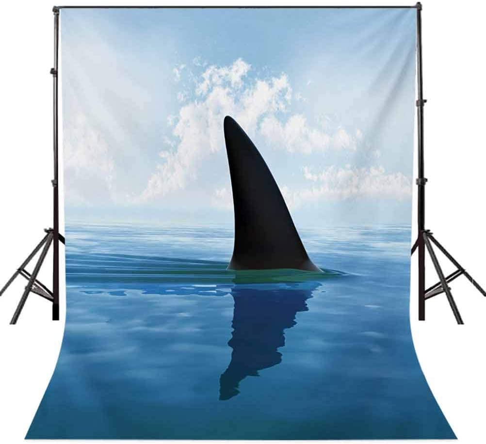 Shark Fish Fin Over The Sea Surface Danger Caution Themed Picture Background for Kid Baby Boy Girl Artistic Portrait Photo Shoot Studio Props Video Drape Vinyl Shark 6x8 FT Photography Backdrop