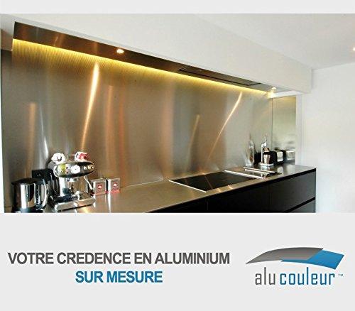 Crédence de cuisine en inox brossé 1mm sur mesure H 20 cm x L 20 cm < L 150 cm (H 20 cm x L 40 cm)