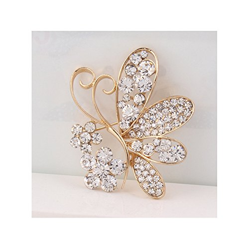 Winter's Secret White Butterfly Shape Flower Dimond Accented Brooch Pin
