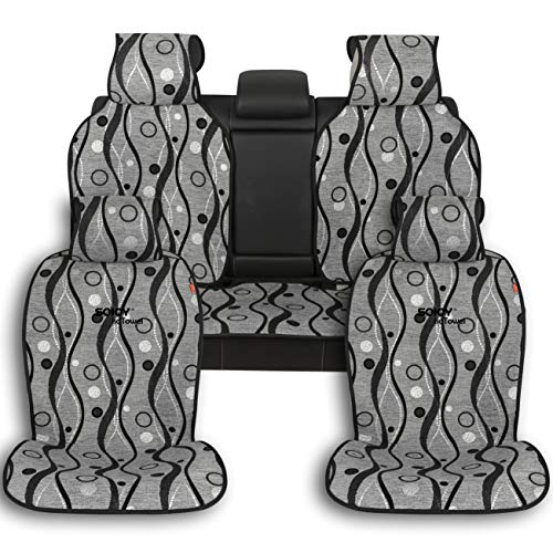Sojoy Four Seasons Universal Full Set of Car Seat Cushions Covers (Dark Gray)