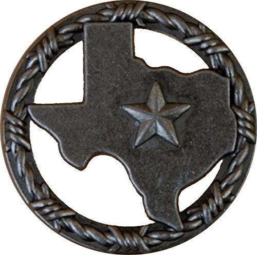 Lone Star Pull (Set of 6 Texas with Barbwire Ring Lone Star Drawer Cabinet Pull Southwest Rustic Texas (Old Silver))