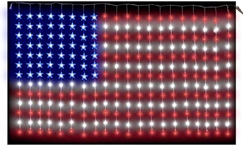 Russell Decor Patriot USA Flag Lights Independence Day July 4th Stars and Stripes 6ftx3.5ft Red Blue White