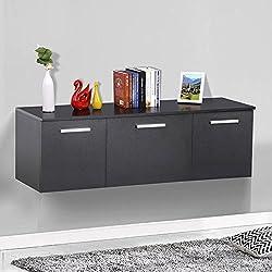 Topeakmart Wall Mount Buffet Floating Media Storage Cabinet Hanging Desk Hutch 3 Door Dining Room Furniture Black