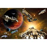 Spaceship in the universe photo wallpaper - Space Ships Galaxy - XXL wall decoration children room 55 Inch x 39.4 Inch