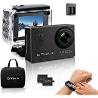Action Camera-OTHA 4K Sports Underwater Camera with 2 Batteries, Wireless Wrist Remote and 20 Accessories , Perfect for Night Vision and Gyro Anti-Shake