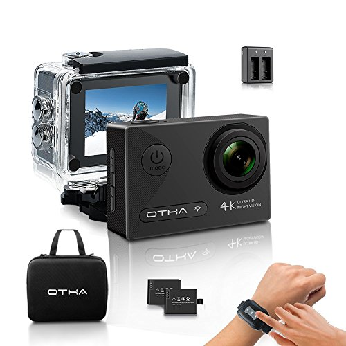 Action Camera-OTHA 4K Sports Camera with 2 Batteries and Helmet Accessories Kit,Perfect for Night Vision and Gyro Anti-Shake by OTHA