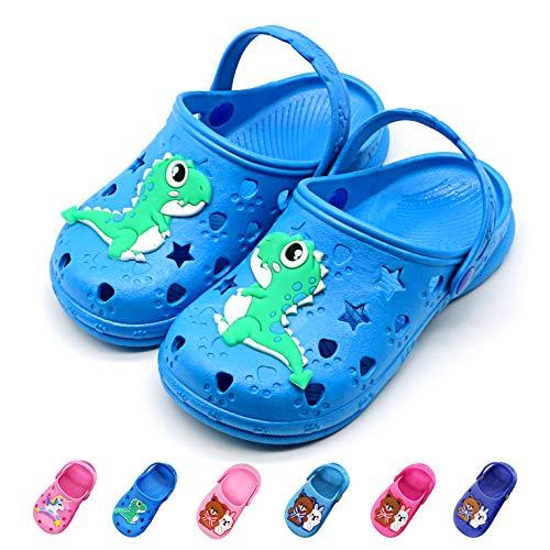 Namektch Toddler Little Kids Clogs Slippers Sandals, Non-Slip Girls Boys Slide Lightweight Cartoon Garden Slip-on Shoes Beach Pool Shower Slippers (Toddler 7-7.5M, Dinosaur)]()