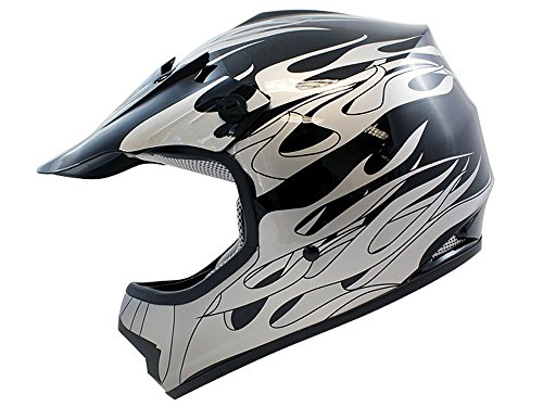 TMS Youth Kids Black Flame Dirt Bike Off-road Motocross Helmet Atv Mx...