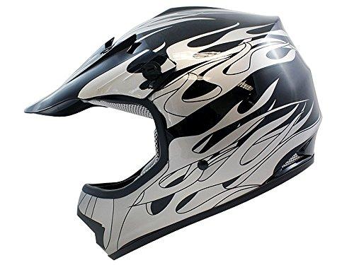 TMS Youth Kids Black Flame Dirt Bike Off-road Motocross Helmet Atv Mx...