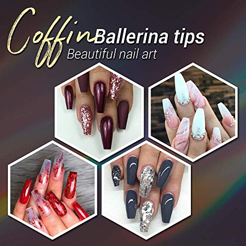 MAQUITA 600PCS Clear Acrylic Nail Tips and French Style Fake Nails Kit Full Cover False Ballerina Coffin Nail Tip 10 Different Sizes with Plastic Box for DIY Salon Nail Art