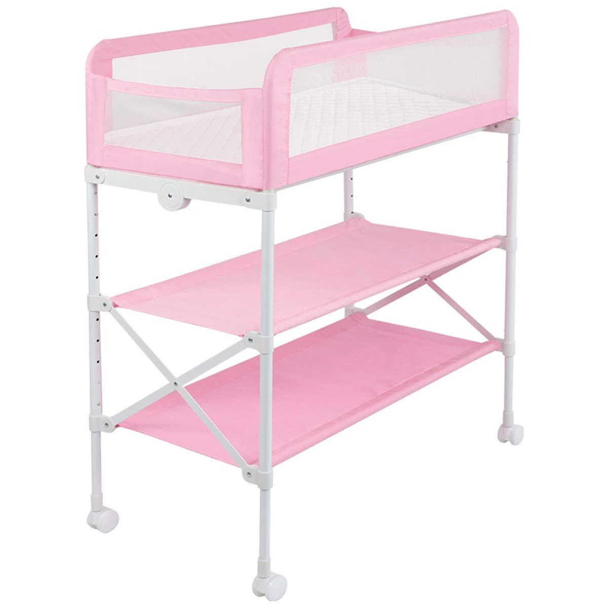 赤ちゃんのおむつ交換テーブル、新生児折り畳み看護テーブル、多機能調節可能な高さのバスマッサージの看護テーブル、アンチ吹きミルクのベビーベッド、高齢化の子供用ベッドガードレール  Pink B07KGN3DKF