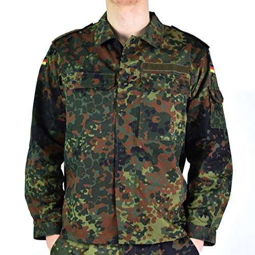 Original German Army Jacket Zipped Fleck-tarn Camouflage Tactical Combat BW Military Issue Field Shirt (Large Short)