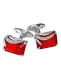 Shiny Ruby Crystal Cufflinks Elegant Style Women Men Fancy Stone Cuff Links
