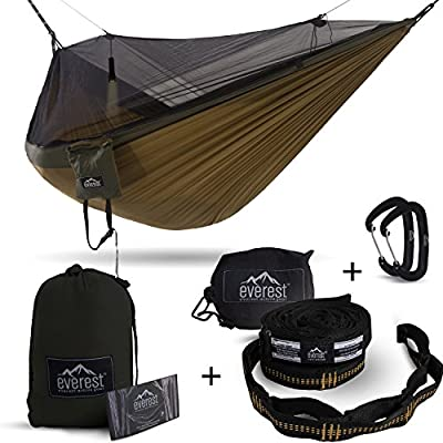 Double Hammock - Everest | Bug & Mosquito Free Camping & Outdoor Hammocks Tent Reversible Integrated BugNet YKK Zipper Lightweight Ripstop Diamond Weave Nylon