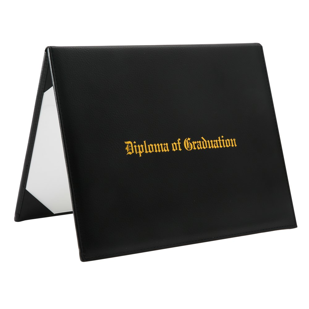 Ninuo Graduation Certificate Covers Padded Diploma Paper Holder, 8.5''x 11'' Letter Sized Award Certificates,Gold Foil, (Black)