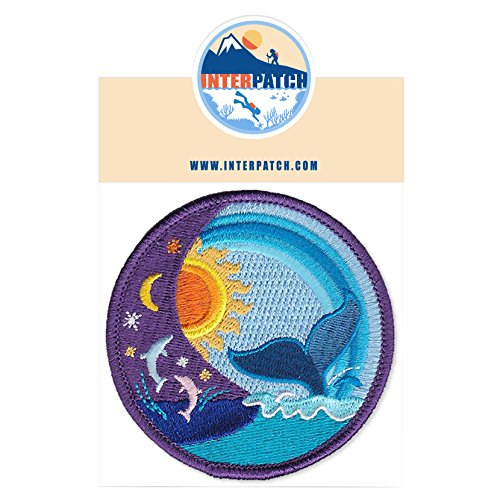 Moon Dolphins (Colourful Sun Moon Water Whale Dolphin Embroidered Patch Badge Sew On Iron On)