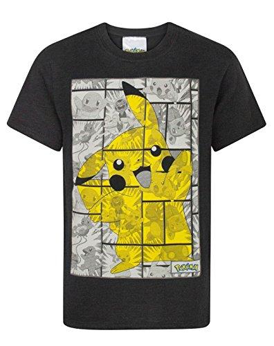Pokemon Pikachu Grey Panels Boy's T-Shirt (9-10 Years)