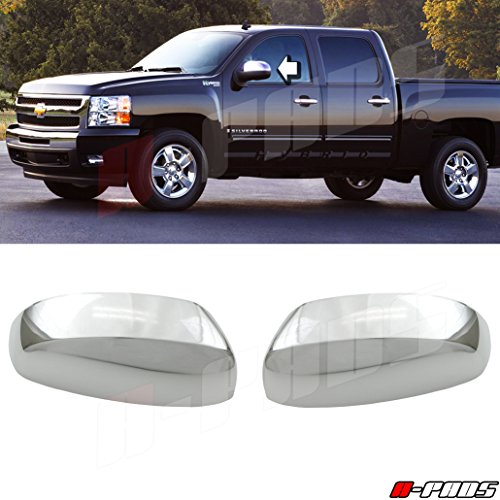 A-PAD Chrome Clip-On Mirror Cap Replacement Cover For 2007-2013 Silverado 1500/2500/3500