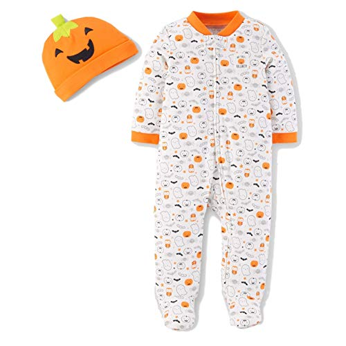 Carter's Just One You Neutral Baby Halloween Pumpkin Ghost Print Sleep N' Play- Orange/White (Nb) -