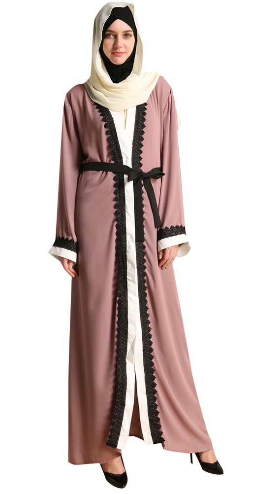 YI HENG MEI Women's Elegant Modest Muslim Islamic Full Length Lace Hem Abaya Dress with Belt,Pink Purple,XL