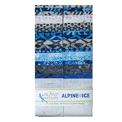 Island Batik Strip Alpine Ice 40 Strips 2.5 by 44 Inches