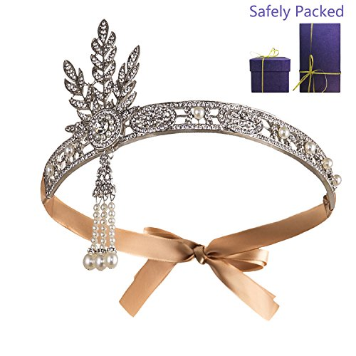 Metme Bling Rhinestone Pearl Wedding Headpiece 1920s Gatsby Themes Party Headband -